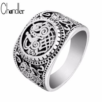 Chandler Sleipnir Horse Viking Ring Tibetan Gothic Rock Punk Vintage God Signet Anel Bague Men Jewelry Free Shipping Drop Ship