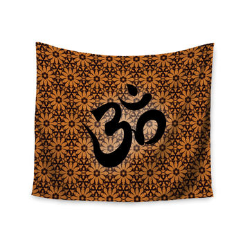 "KESS Original ""Om Orange"" Black Orange Wall Tapestry"