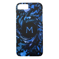 Abstract Blue and Black Wet Paint Whirl Monogram iPhone 7 Case