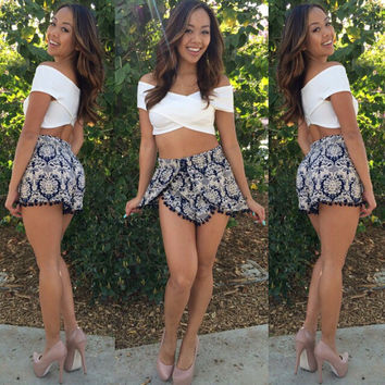 White Wrap Cropped Top and Black Shorts with Pom Decor