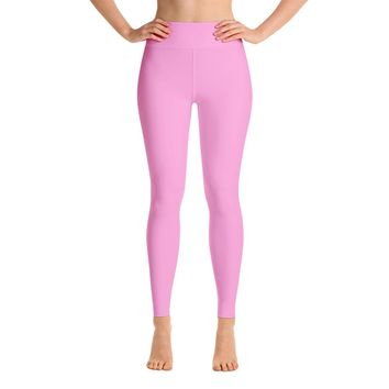 Solid Pink Yoga Leggings