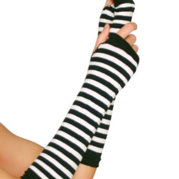 Nylon Striped Arm Warmers