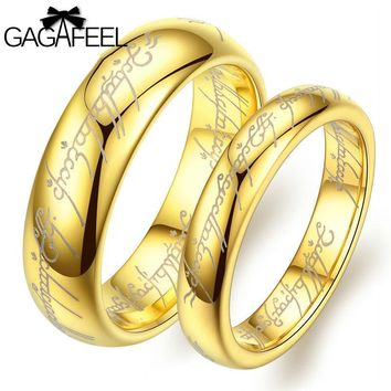 GAGAFEEL Women Men Luxury Ring European Noble Jewelry Tungsten Carbide Gold Color Magic Ring Highs Quality Lover Couple Gifts