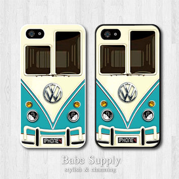 VW MiniBus iPhone 4 case, iPhone 4s case, Volkswagen Bus Minibus cover skin case for iphone 4 4g 4s, Black White Clear Hard case