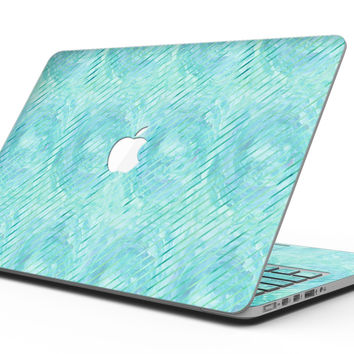 Green Watercolor Swirls and Diagonal Stripes Pattern - MacBook Pro with Retina Display Full-Coverage Skin Kit