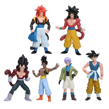 6pcs/set Dragon Ball Dragonball Z GT Figurines Gogeta Super Saiyan 4 Son Goku Gokou Trunks Collection Action FigureToy