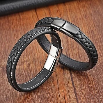 Classic 19cm,21cm Size Choose Genuine Leather Stainless Steel Magnetic Buckle Men Women Leather Bracelet Fashion Charm Bracelet