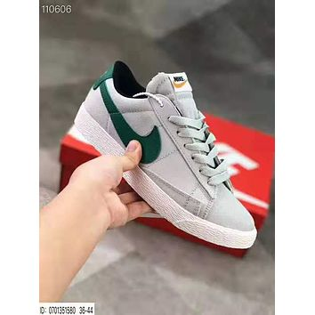 Nike Blazer Low Fashion Women Men Casual Canvas Flat Sport Shoes Sneakers Grey