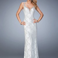 La Femme 22400 Classy Beaded Lace V-Back Prom Dress