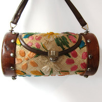 Vintage 1960s tropical flower embroidered raffia straw and coconut wood cylinder hand bag