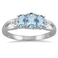 1.00 Carat Three Stone Blue Topaz and Diamond Ring in .925 Sterling Si