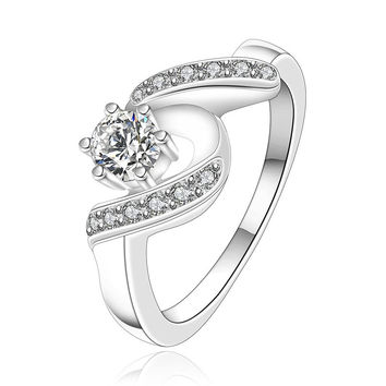 R158 Silver plated new design finger ring for lady hot