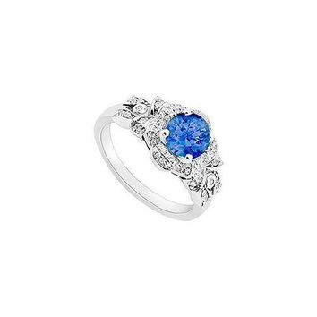 14K White Gold Sapphire & Diamond Engagement Ring 0.75 CT TGW