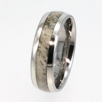 Hunting Trophy Ring - Antler Wedding Band - 14K Gold Titanium - Perfect Gift for Hunter - Signature Series