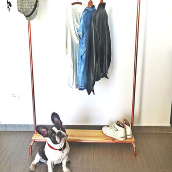 Wood + Copper Pipe Clothing/Garment Rack with a Solid Wood Base