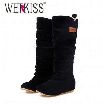 2016 Big Size Spring/Autumn hidden wedge Flock boots Fashion Flat Mid-calf women boots casual shoes  sweet lace winter boots
