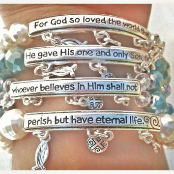 John 3:16 Bracelet // // Bible Verse Bracelet // Stackable Handmade Beaded Bracelet