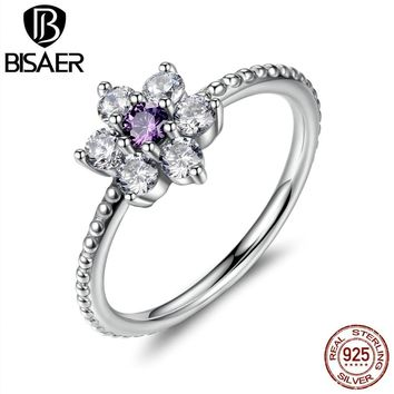 925 Sterling Silver Finger Rings Forget Me Not, Purple & Clear CZ Ring  Jewelry joyas de plata 925 WEU7179