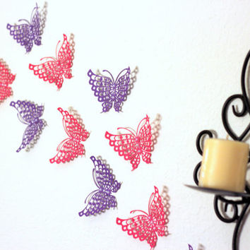 Paper Butterflies : Girls room decor, Nursery decoration, Pink and Purple Butterflies, Butterfly Wall decal, 3D Butterfly Wall Art