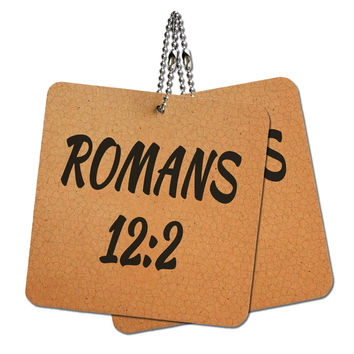 """Bible Verse Romans 12-2 Wood MDF 4"""" x 4"""" Mini Signs Gift Tags"""