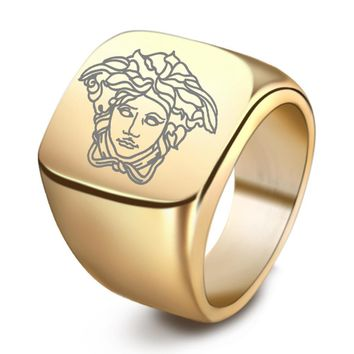 Versace New fashion human head print couple ring jewelry
