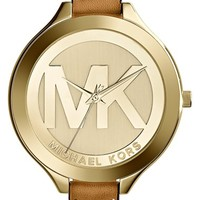 Women's Michael Kors 'Slim Runway' Logo Dial Round Leather Strap Watch, 42mm - Luggage/ Gold