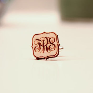 Fancy Personalized Wood Monogram Cufflinks