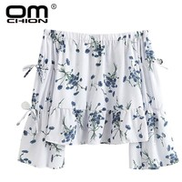 New Summer Blouse Slash Neck Women Shirts Floral Print Long Sleeve Sexy Off Shoulder Short Tops