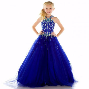 Girls Pageant Dresses 2016 Ball Gown Halter Royal Blue Crystals Rhinestones Cute Little Flower Girl Dresses For Wedding