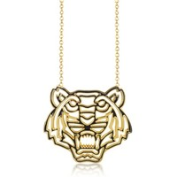Kenzo Designer Necklaces Gold Plated and Black Lacquer Tiger Head Necklace
