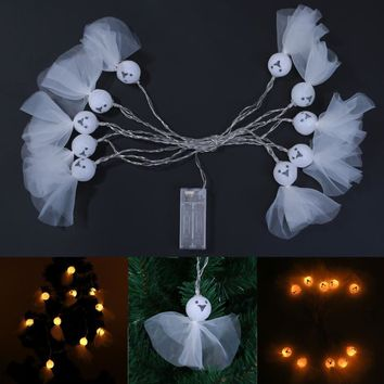 Battery Operated 2.5m 10LED White Skull Ghost Shaped LED String Lights  Indoor Outdoor Lights Halloween Decoration Lamp