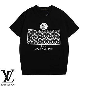 Louis Vuitton LV Summer Fashion New Monogram Print Women Men T-Shirt Top Black