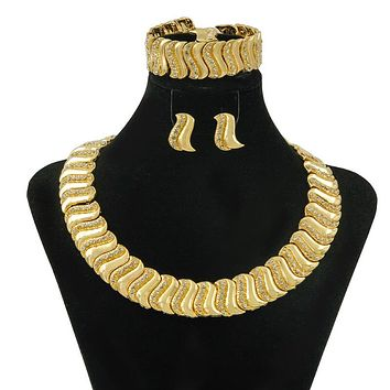 "Liffly Fashion Nigerian Women's Jewelry Accessories Gold ""Z"" Crystal Necklace Christmas Gift Dubai African Wedding Jewelry Set"