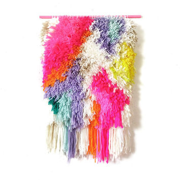 Furry Electric Raspberry Fields // Handwoven - Tapestry - Wall hanging - Weaving - Woven - Fiber Art -Textile