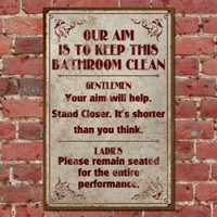 Funny Vintage Bathroom Sign, Clean Bathroom Retro Pub Sign, Classic Distressed T