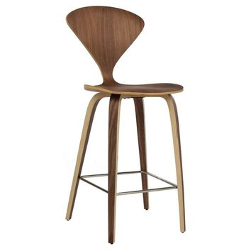 Modern Walnut Norman Cherner Reproduction Counter Bar Stool