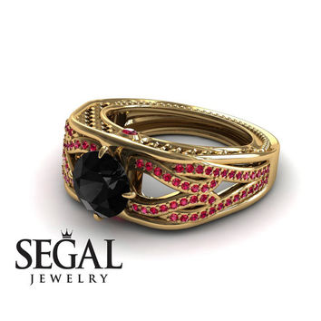 Engagement ring 14K Yellow Gold Vintage Antique Ring Black Diamond With Ruby - Bailey
