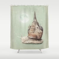 The Snail's Dream Shower Curtain by Eric Fan