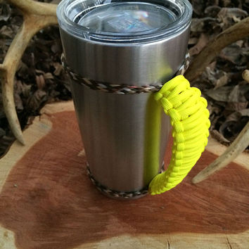 Neon Yellow/Camo Paracord Yeti 20 oz. Rambler Handle Grip