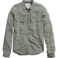 H&M - Long-sleeved Shirt - Khaki green - Ladies