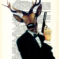 Drawing Illustration Giclee Prints Posters Mixed Media Art Acrylic Painting Holiday Decor Gifts: JAMES BOND Deer Skyfall