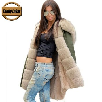 Fandy Lokar Real Fur Parka Winter Fashion Natural Rex Rabbit Fur Parka Real Fox Fur Jackets Women Long Sleeve Fur Coat Female