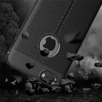 Business Leather Pattern Case for Fundas iPhone 6 Cases 6S 7 Plus X 5 5S SE Case Cover Soft Rubber Silicone Phone Back Case