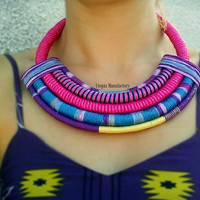 Handmade African Necklace/African dress/Large Necklace /ethnic Necklace/african clothing/african statement necklace/tribal necklace/fabric