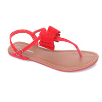 Red Bow Alvina T-Strap Sandals