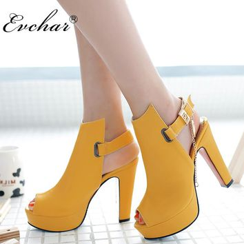 New Sexy Novelty Shoes Women Pumps Spring Peep Toe Gladiator Chunky High Heels Platform Female Chains Sequined sIZE 34-43