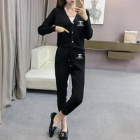 """""""Chanel"""" Women Casual Fashion Knit Letter V-Neck Cardigan Buttons Long Sleeve Set Two-Piece Sportswear"""