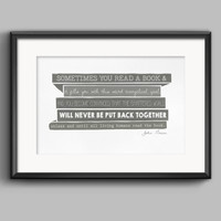 John Green Typography Quote Poster