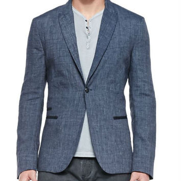 John Varvatos Star USA  One-Button Jacket W/ Peaked Lapels, Indigo