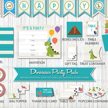 Dinosaur Themed Birthday, Printable Party Pack,DIY, Banner, Invitation, Favors, Cupcake Toppers, Decorations, Roar, First, Kid Party